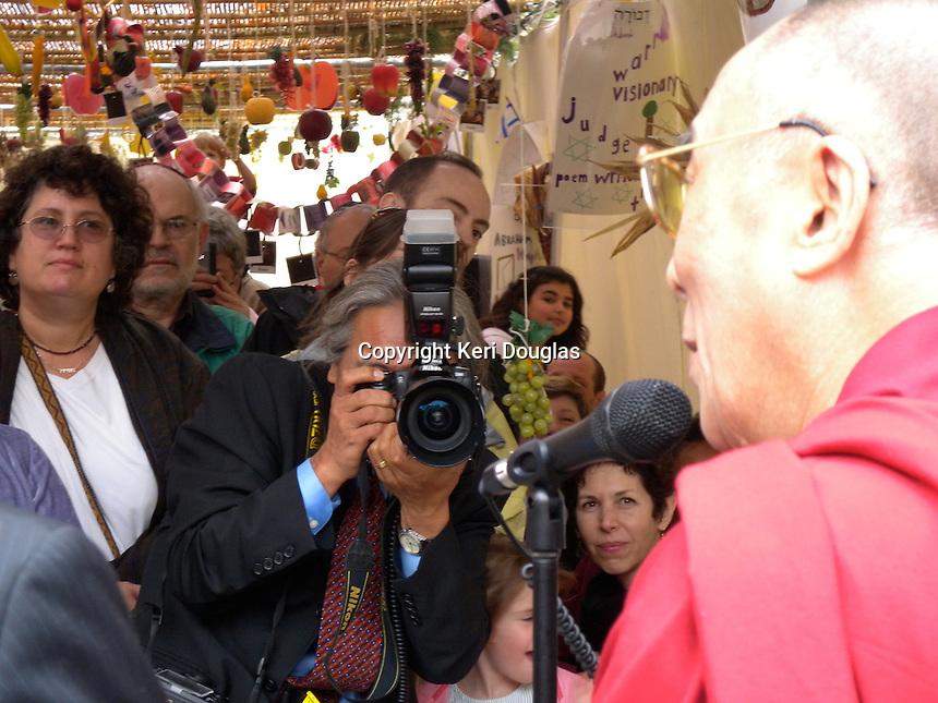 Dalai Lama at Adas Israel for Shemini Atzeret, last day of Sukkot in the Sukkah, Washington, DC