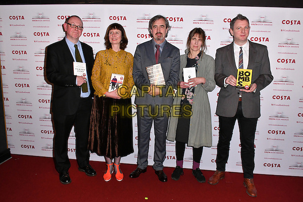 Francis Spufford, Keggie Carew, Sebastian Barry, Alice Oswald, Brian Conaghan<br /> Costa Book Of The Year Award 2016, at Quaglino&rsquo;s, London, England on January 31, 2017.<br /> CAP/JOR<br /> &copy;JOR/Capital Pictures