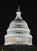Very high resolution nighttime view of the dome of the United States Capitol with the lantern lit looking towards the West Front in Washington, DC on Tuesday, September 12, 2017.  The lantern is lit when one or both of the Houses of Congress are in session.<br /> Credit: Ron Sachs / CNP