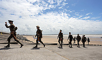 Men in World War I gear depart after having lunch by Aberavon beach, Port Talbot, south Wales UK. Friday 01 July 2016