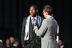 16 January 2014: Andre Blake, being interviewed by Brian Dunseth (right), was select with the first overall pick of the draft by the Philadelphia Union. The 2014 Major League Soccer SuperDraft was held at the NSCAA Annual Convention in the Pennsylvania Convention Center in Philadelphia, Pennsylvania.