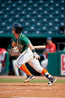 Greensboro Grasshoppers designated hitter Cameron Baranek (7) follows through on a swing during a game against the Lakewood BlueClaws on June 10, 2018 at First National Bank Field in Greensboro, North Carolina.  Lakewood defeated Greensboro 2-0.  (Mike Janes/Four Seam Images)