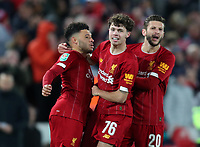 30th October 2019; Anfield, Liverpool, Merseyside, England; English Football League Cup, Carabao Cup, Liverpool versus Arsenal; Alex Oxlade-Chamberlain of Liverpool celebrates with team mates Neco Williams and Adam Lallana after scoring  Liverpool's fourth goal - Strictly Editorial Use Only. No use with unauthorized audio, video, data, fixture lists, club/league logos or 'live' services. Online in-match use limited to 120 images, no video emulation. No use in betting, games or single club/league/player publications