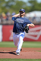Tampa Bay Rays pitcher Alex Cobb (53) during a spring training game against the Minnesota Twins on March 2, 2014 at Charlotte Sports Park in Port Charlotte, Florida.  Tampa Bay defeated Minnesota 6-3.  (Mike Janes/Four Seam Images)