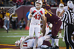 Wisconsin Badgers linebacker Ryan Connelly (43) celebrates after sacking Minnesota Golden Gophers quarterback Ken Handy-Holly (11) during an NCAA College Big Ten Conference football game  Saturday, November 25, 2017, in Minneapolis, Minnesota. The Badgers won 31-0. (Photo by David Stluka)