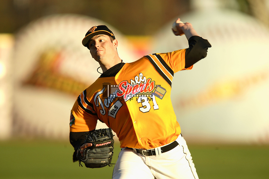 Tennessee starting pitcher James Adkins in action versus Georgia Tech at the 2006 Baseball at the Beach tournament in Myrtle Beach, SC.
