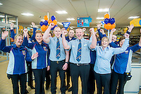 Thursday  28 July 2014<br /> Pictured: Store Manager Paul Bibby with Store Staff <br /> Re: ALDI Merthyr Tydfill Grand Re-opening