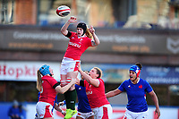 Bethan Lewis of Wales claims the lineout during the Women's Six Nations Championship Round 3 match between Wales and France at the Cardiff Arms Park in Cardiff, Wales, UK. Sunday 23 February 2020