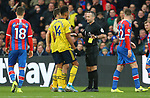 Referee Paul Tierney upgrades Arsenal's Pierre-Emerick Aubameyang's yellow card to a red after a VAR review during the Premier League match at Selhurst Park, London. Picture date: 11th January 2020. Picture credit should read: Paul Terry/Sportimage