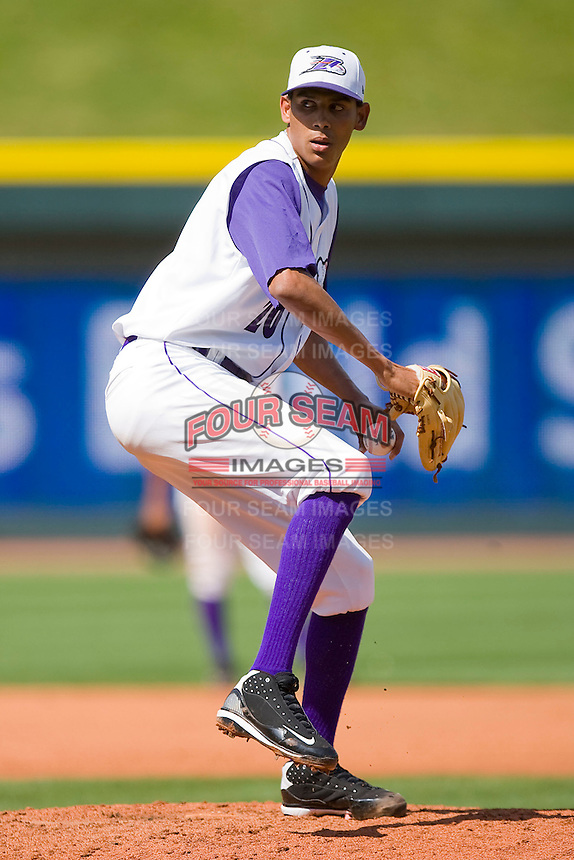 Relief pitcher Santos Rodriguez #20 of the Winston-Salem Dash in action against the Wilmington Blue Rocks at the BB&T Park April25, 2010, in Winston-Salem, North Carolina.  Photo by Brian Westerholt / Four Seam Images