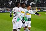 01.12.2019, Borussia Park , Moenchengladbach, GER, 1. FBL,  Borussia Moenchengladbach vs. SC Freiburg,<br />  <br /> DFL regulations prohibit any use of photographs as image sequences and/or quasi-video<br /> <br /> im Bild / picture shows: <br /> Torjubel / Jubel / Jubellauf,    3:1 Denis Zakaria (Gladbach #8), Breel Embolo (Gladbach #36),  Stefan Lainer (Gladbach #18), <br /> <br /> Foto © nordphoto / Meuter