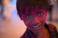 Boy during the Holi Festival Jaipur Rajasthan India