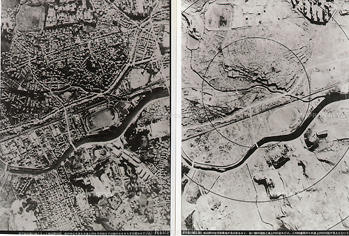 August, 1945 : Nagasaki, Japan - Aerial photo of before and after of atomic bombing of Nagasaki during the Pacific campaigns of World War II. (Photo by Kingendai Photo Library/AFLO)