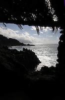 Palm covered roof looking onto rugged coastline, Playa del Piloto, El Hierro, Canary Islands.