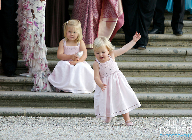 Princess Catharina Amalia, and Princess Alexia of Holland, attend a Reception at Het Loo Palace in Apeldoorn, to celebrate the 40th Birthday of Crown Prince Willem Alexander, The Prince turned forty in April earlier this year.