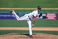 Mesa Solar Sox relief pitcher Austen Williams (44), of the Washington Nationals organization, delivers a pitch to the plate during a game against the Surprise Saguaros on October 20, 2017 at Sloan Park in Mesa, Arizona. The Solar Sox walked-off the Saguaros 7-6.  (Zachary Lucy/Four Seam Images)