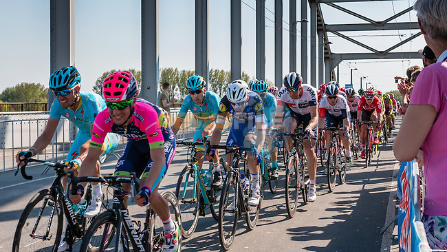 Peloton with NIBALI Vincenzo from Italy of Astana Pro Team (KAZ) at the 2nd lap (1000M) from the finish line on the John Frost Bridge 'A Bridge Too Far', stage 3 from Nijmegen to Arnhem running 190 km of the 99th Giro d'Italia (UCI WorldTour), The Netherlands, 8 May 2016. Photo by Pim Nijland / PelotonPhotos.com | All photos usage must carry mandatory copyright credit (Peloton Photos | Pim Nijland)