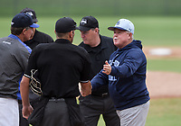 NWA Democrat-Gazette/CHARLIE KAIJO Har-Ber High School head coach Ron Bradley shakes hands with an official during the 6A State Baseball Tournament, Thursday, May 9, 2019 at Veterans Park in Rogers. Har-Ber High School beat Conway High School 6-5