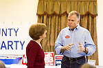 April 6, 2014. Durham, North Carolina.<br />   Thom Tillis, right, is one of eight Republican candidates running for Democrat Kay Hagan's Senate seat.<br /> As the the primary scheduled for May 6th grows near, several of the the eight Republican candidates running for the US Senate seat of incumbent Democrat Kay Hagan have increased their public visibility, appearing at events such as the Durham County Lincoln Douglas Lunch, where each candidate was given a few minutes to address the gathered Republican friendly crowd.