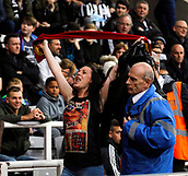 1st October 2017, St James Park, Newcastle upon Tyne, England; EPL Premier League football, Newcastle United versus Liverpool; A female Liverpool fan is ejected from the Newcastle United end after celebrating Coutinho opening goal