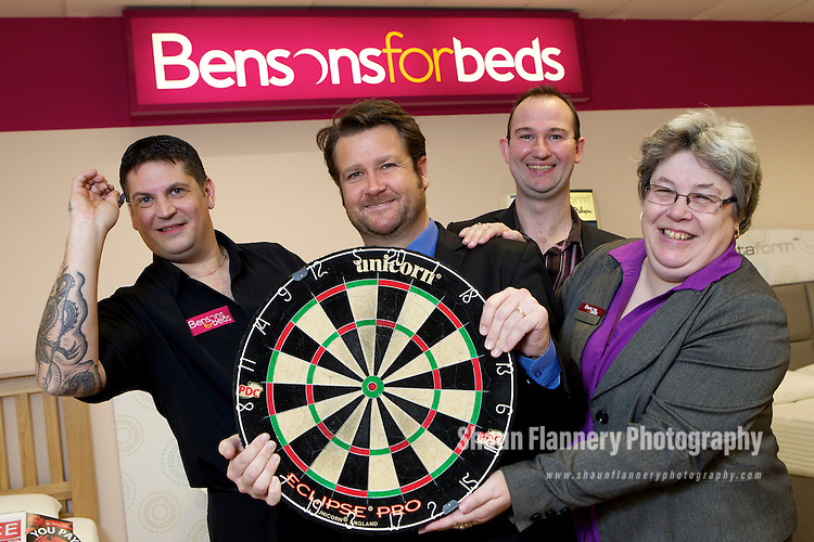 Pix: Shaun Flannery/shaunflanneryphotography.com...COPYRIGHT PICTURE>>SHAUN FLANNERY>01302-570814>>07778315553>>..4th February 2011..............Bensons for Beds, Centurion Way, Doncaster..Darts player Gary Anderson visits the store..Also pictured are staff members Jan Stocks, Phill Abbott (blue shirt and tie), Mike Roberts, Finance Director.