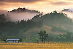 Stormy sunrise clouds and fog over hills above the Knights Valley, Sonoma County, California