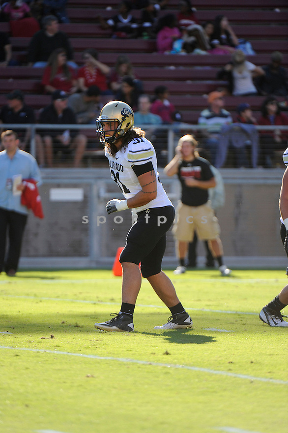 JON MAJOR, of the Colorado Buffaloes, in action during Colorado's game against the Stanford Cardinal on October 8, 2011 at Stanford Stadium in Stanford, CA. Stanford beat Colorado 48-7.