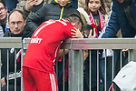 10.03.2018, Allianz Arena, Muenchen, GER, 1.FBL,  FC Bayern Muenchen vs. Hamburger SV, im Bild Franck Ribery (FCB #7) jubelt nach dem Tor zum 1-0 mit seinem Sohn<br /> <br />  Foto &copy; nordphoto / Straubmeier