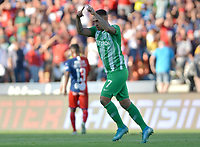 MEDELLÍN - COLOMBIA .08-09-2019:Jarlan Barrera jugador del Atlético Nacional celebra después de anotar un gol al Independiente Medellín durante partido por la fecha 10 de la Liga Águila II 2019 jugado en el estadio Atanasio Girardot de la ciudad de Medellín. /Jarlan Barrera player of Atletico Nacional  celebrates after scoring a goal agaisnt of Independiente Medellin  during the match for the date 10 of the Liga Aguila II 2019 played at the Atanasio Girardot  Stadium in Medellin  city. Photo: VizzorImage /León Monsalve / Contribuidor.