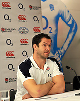 London, England. Andy Farrell, one of the England rugby coaches, talks to the media at a press conference to announce the England rugby squad for the QBE Internationals on October 25, 2012 in London, England