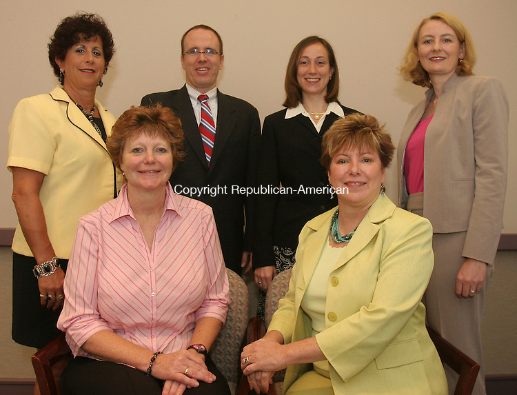 WATERBURY, CT-18July 2006-071806TK12- (left to right)Photo taken for the up and coming Health Care Tab of the Greater Waterbury Health Care Council Board: From Programs - (seated-Left to Right) Donna Johnson of Diagnostic Radiology Associates, Program Chairman and Lynn Tata, J&L Medical Services, Programs Vice Chairman. (Standing-Left to right) Margo Ricciardi of Patient's Choice Homecare, Joe Connolly of Saint Mary's Health System, Heather Clinger of Waterbury Hospital and Philippa Pryor of Waterbury Regional Chamber, Director of Programs and Marketing.  Tom Kabelka Republican-American (Donna Johnson, Lynn Tata, Margo Ricciardi, Joe Connolly, Philippa Pryor, Heather Clinger)