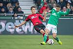 13.04.2019, Weser Stadion, Bremen, GER, 1.FBL, Werder Bremen vs SC Freiburg, <br /> <br /> DFL REGULATIONS PROHIBIT ANY USE OF PHOTOGRAPHS AS IMAGE SEQUENCES AND/OR QUASI-VIDEO.<br /> <br />  im Bild<br /> <br /> Milot Rashica (Werder Bremen #11)<br /> Nico Schlotterbeck (SC Freiburg #49)<br /> <br /> Foto &copy; nordphoto / Kokenge