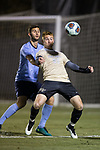 Hank Gauger (23) of the Wake Forest Demon Deacons uses his body to keep the ball away from Vana Markarian (5) of the Columbia Lions during first half action in the second round of the 2017 NCAA Men's Soccer Championship at Spry Soccer Stadium on November 19, 2017 in Winston-Salem, North Carolina.  The Demon Deacons defeated the Lions 1-0.  (Brian Westerholt/Sports On Film)