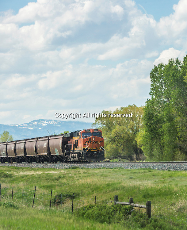 A train runs through Montana.
