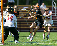 Newton, Massachusetts - May 13, 2018: NCAA Division I tournament. Boston College (white), defeated Princeton University (black), 16-10, at Newton Campus Lacrosse Field.<br /> Goal.