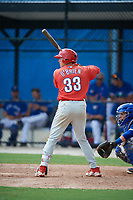 GCL Phillies West first baseman Stoney O'Brien (33) at bat during a game against the GCL Blue Jays on August 7, 2018 at Bobby Mattick Complex in Dunedin, Florida.  GCL Blue Jays defeated GCL Phillies West 11-5.  (Mike Janes/Four Seam Images)