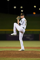 Mesa Solar Sox relief pitcher Sam Sheehan (29), of the Oakland Athletics organization, delivers a pitch during an Arizona Fall League game against the Scottsdale Scorpions at Sloan Park on October 10, 2018 in Mesa, Arizona. Scottsdale defeated Mesa 10-3. (Zachary Lucy/Four Seam Images)