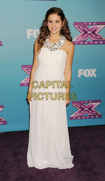 Carly Rose Sonenclar.arriving at Fox's 'The X Factor' Season Finale Night 1 at CBS Televison City in Los Angeles, California, USA, .December 19th, 2012.  .full length white long maxi dress halterneck .CAP/ROT/TM.©Tony Michaels/Roth Stock/Capital Pictures
