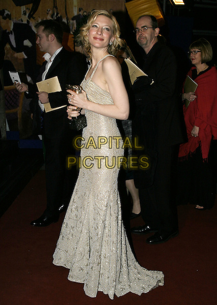 CATE BLANCHETT.Official BAFTA Aftershow Dinner Party, .Grosvenor House, Park lane, London, .February 12th 2005..full length trophy award gold beaded dress.Ref: AH.www.capitalpictures.com.sales@capitalpictures.com.©Capital Pictures.