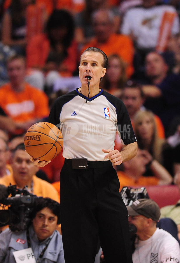 May 3, 2010; Phoenix, AZ, USA; NBA referee Ken Mauer during the game between the Phoenix Suns against the San Antonio Spurs in game one in the western conference semifinals of the 2010 NBA playoffs at the US Airways Center. The Suns defeated the Spurs 111-102. Mandatory Credit: Mark J. Rebilas-