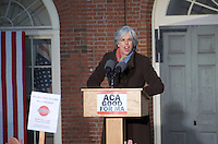 Representative Katherine Clark at Save Affordable Care Act rally with MA Congressional delegation at Faneuil Hall Boston MA 1.15.17