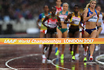 one of the jumps in the womens 3000m steeplechase heats with the competitors in the background. IAAF world athletics championships. London Olympic stadium. Queen Elizabeth Olympic park. Stratford. London. UK. 09/08/2017. ~ MANDATORY CREDIT Garry Bowden/SIPPA - NO UNAUTHORISED USE - +44 7837 394578