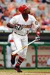 14 June 2006: Alfonso Soriano, left fielder for the Washington Nationals, in action against the Colorado Rockies in Washington, DC. The Rockies defeated the Nationals 14-8 in front of 24,273 fans at RFK Stadium...Mandatory Photo Credit: Ed Wolfstein Photo.