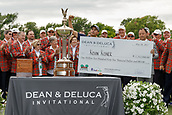 28th May 2017, Fort Worth, Texas, USA; Kevin Kisner receives the winners check after winning the PGA Dean & Deluca Invitational at Colonial Country Club in Fort Worth, TX.