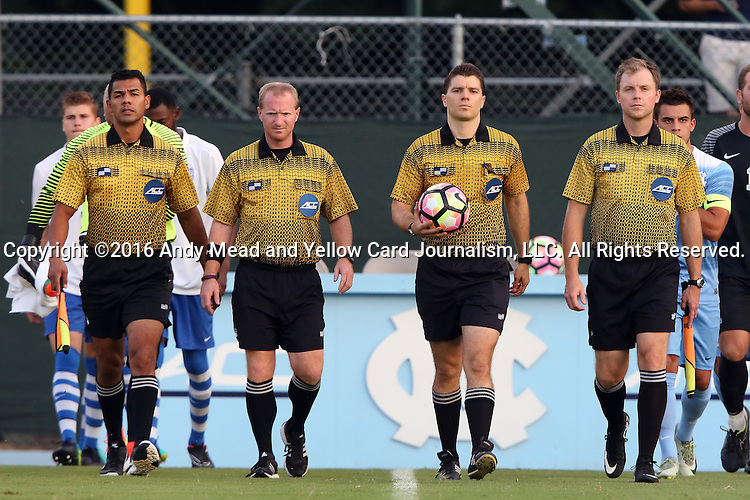 28 August 2016: Match Officials. From left: Assistant Referee Gustavo Solaria, Fourth Official Forrest Ambrose, Referee David Breckner, and Assistant Referee Jude Carr. The University of North Carolina Tar Heels hosted the Saint Louis University Billikens at Fetter Field in Chapel Hill, North Carolina in a 2016 NCAA Division I Men's Soccer match. UNC won the game 3-0.