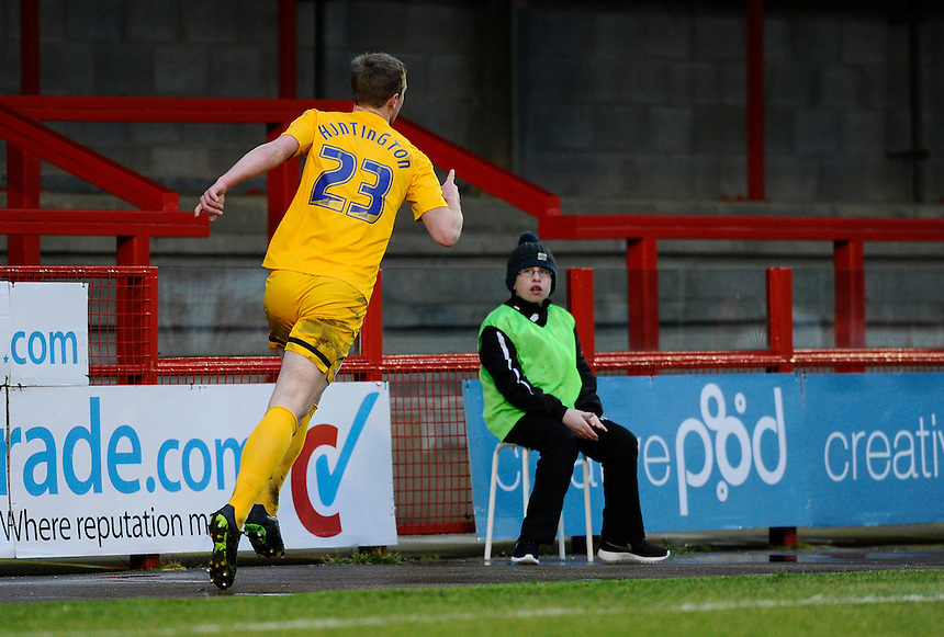Preston North End's Paul Huntington celebrates scoring his sides equalising goal to make the score 1-1<br /> <br /> Photographer Ashley Western/CameraSport<br /> <br /> Football - The Football League Sky Bet League One - Crawley Town v Preston North End - Saturday 31st January 2015 - Broadfield Stadium - Crawley<br /> <br /> &copy; CameraSport - 43 Linden Ave. Countesthorpe. Leicester. England. LE8 5PG - Tel: +44 (0) 116 277 4147 - admin@camerasport.com - www.camerasport.com