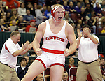 Wadsworth's Nick Tavanello celebrates his Division I state championship at 215lbs. over Centerville's Kyle Rose. Tavanello's victory sealed the team championship for Wadsworth. (RON SCHWANE / GAZETTE)