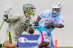 Costa Mesa, CA 06/08/13 - Whit Mccarthy (Team Maverik #36) and Maxx Davis (Team STX #11) in action during the inaugural game of the LXMPRO Tour in Orange County.  The Team STX defeated Team Maverik 14-13 at Orange Coast College's Bard Stadium.