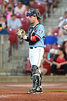 Cedar Rapids Kernels catcher Mitch Garver (25) during a game against the Quad Cities River Bandits on August 19, 2014 at Perfect Game Field at Veterans Memorial Stadium in Cedar Rapids, Iowa.  Cedar Rapids defeated Quad Cities 5-3.  (Mike Janes/Four Seam Images)