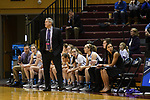 GRAND RAPIDS, MI - MARCH 18: Head coach G.P. Gromacki of Amherst College watches a play develop during the Division III Women's Basketball Championship held at Van Noord Arena on March 18, 2017 in Grand Rapids, Michigan. Amherst defeated 52-29 for the national title. (Photo by Brady Kenniston/NCAA Photos via Getty Images)